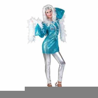 Blauwe disco queen jaren 70 shirt dames