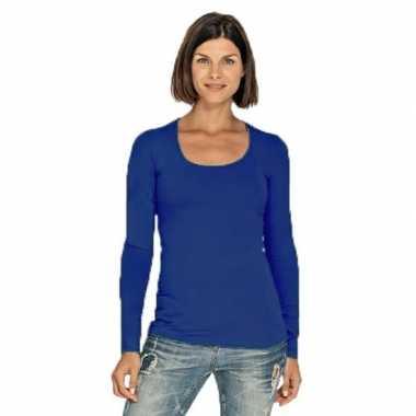 Blauwe longsleeve shirt ronde hals dames