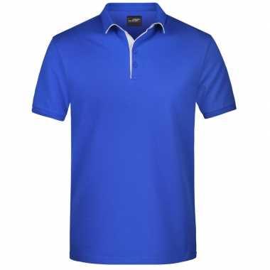 Blauwe premium poloshirt golf pro heren