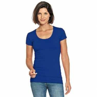 Blauwe shirt ronde hals dames