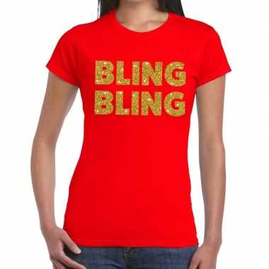 Bling bling fun t shirt rood dames