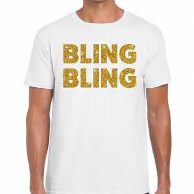 Bling bling fun t shirt wit heren