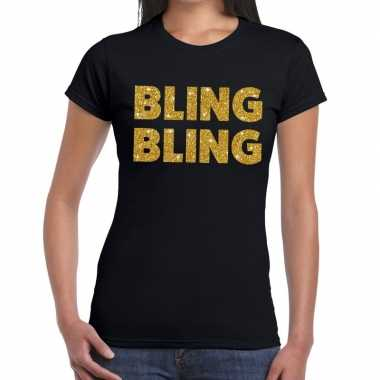 Bling bling fun t shirt zwart dames