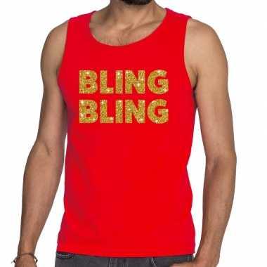 Bling bling fun tanktop / mouwloos shirt rood heren