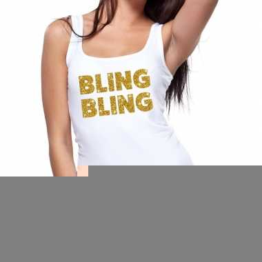 Bling bling fun tanktop / mouwloos shirt wit dames