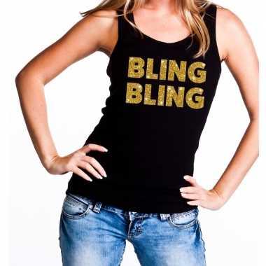 Bling bling fun tanktop / mouwloos shirt zwart dames
