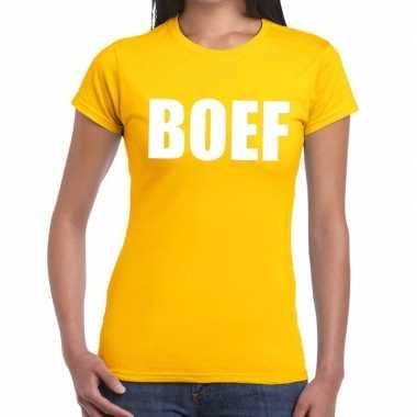 Boef fun t shirt geel dames
