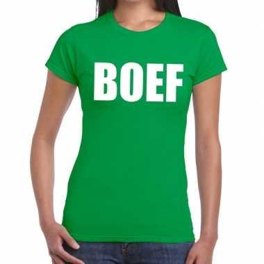 Boef fun t shirt groen dames