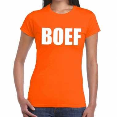Boef fun t shirt oranje dames