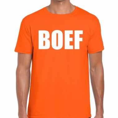 Boef fun t shirt oranje heren