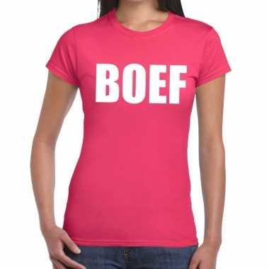 Boef fun t shirt roze dames