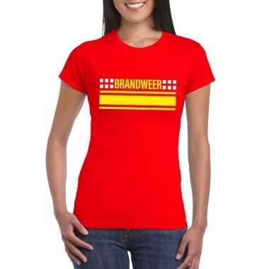 Brandweervrouw shirt rood dames