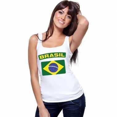 Brasilie vlag mouwloos shirt wit dames