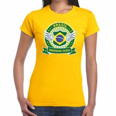 Brazil drinking team t shirt geel dames