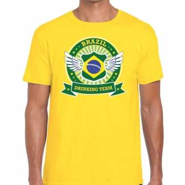 Brazil drinking team t shirt geel heren