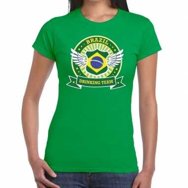 Brazil drinking team t shirt groen dames