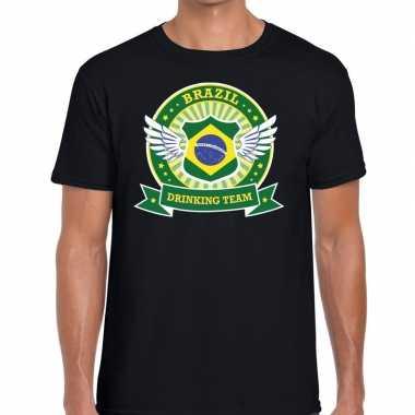 Brazil drinking team t shirt zwart heren
