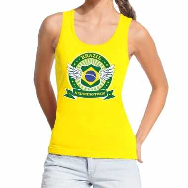 Brazil drinking team tanktop / mouwloos shirt geel dames