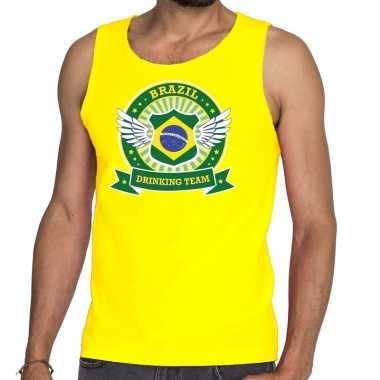 Brazil drinking team tanktop / mouwloos shirt geel heren