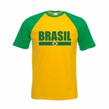 Braziliaanse supporter baseball t shirt geel/ groen heren