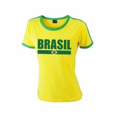 Braziliaanse supporter ringer t shirt geel groene randjes dames