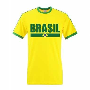 Braziliaanse supporter ringer t shirt geel groene randjes heren