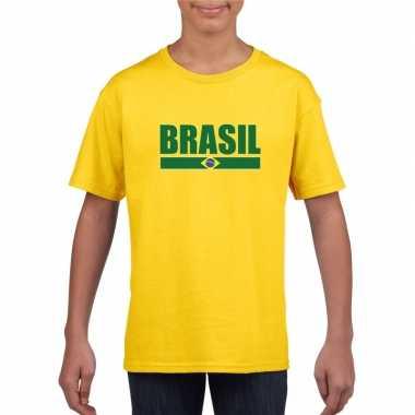 Braziliaanse supporter t shirt geel kinderen
