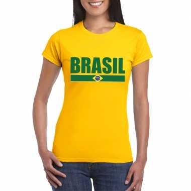 Braziliaanse supporter t shirt yellow dames