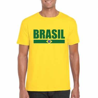 Braziliaanse supporter t shirt yellow heren