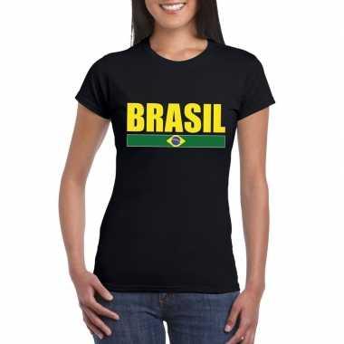 Braziliaanse supporter t shirt zwart/ geel dames