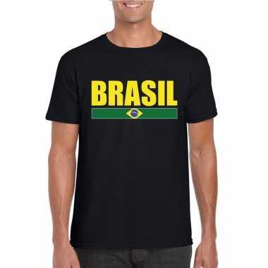 Braziliaanse supporter t shirt zwart/ geel heren
