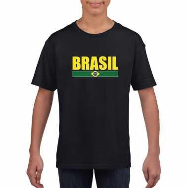 Braziliaanse supporter t shirt zwart / geel kinderen