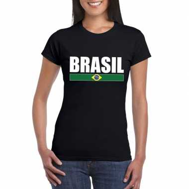 Braziliaanse supporter t shirt zwart/ wit dames