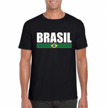 Braziliaanse supporter t shirt zwart/ wit heren