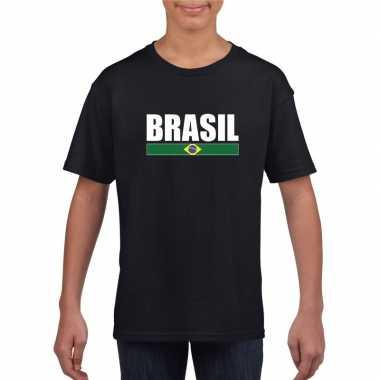 Braziliaanse supporter t shirt zwart / wit kinderen