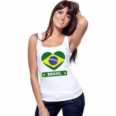 Brazilie hart vlag mouwloos shirt wit dames