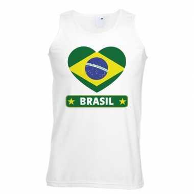 Brazilie hart vlag mouwloos shirt wit heren