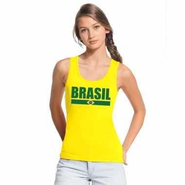 Brazilie supporter mouwloos shirt/ tanktop geel dames