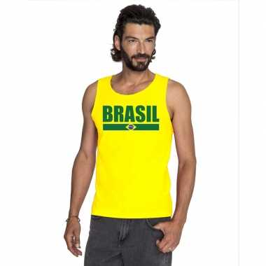 Brazilie supporter mouwloos shirt/ tanktop geel heren