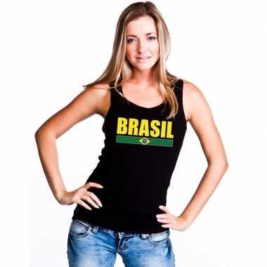 Brazilie supporter mouwloos shirt/ tanktop zwart dames