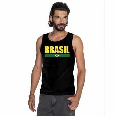 Brazilie supporter mouwloos shirt/ tanktop zwart heren
