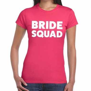 Bride squad fun t shirt roze dames