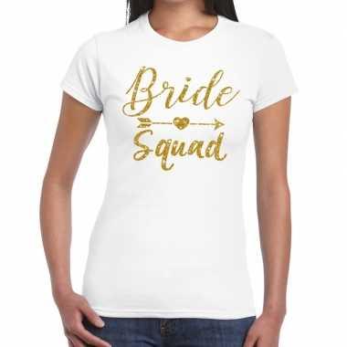 Bride squad gouden letters fun t shirt wit dames