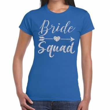 Bride squad zilveren letters fun t shirt blauw dames