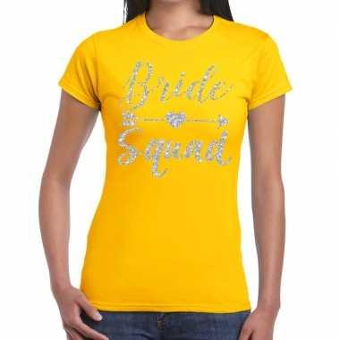 Bride squad zilveren letters fun t shirt geel dames