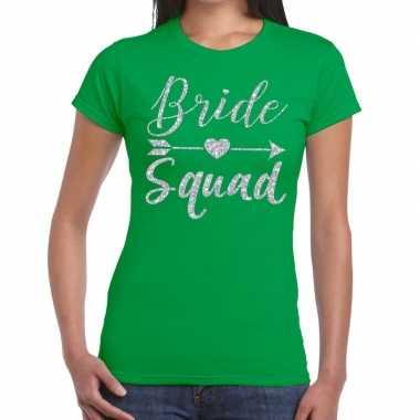Bride squad zilveren letters fun t shirt groen dames