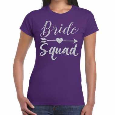 Bride squad zilveren letters fun t shirt paars dames