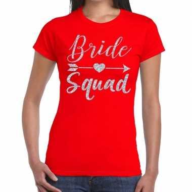 Bride squad zilveren letters fun t shirt rood dames