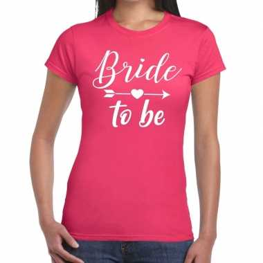 Bride to be fun t shirt roze dames