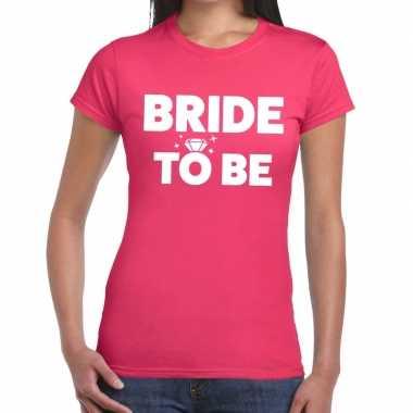 Bride to be fun t shirt roze dames